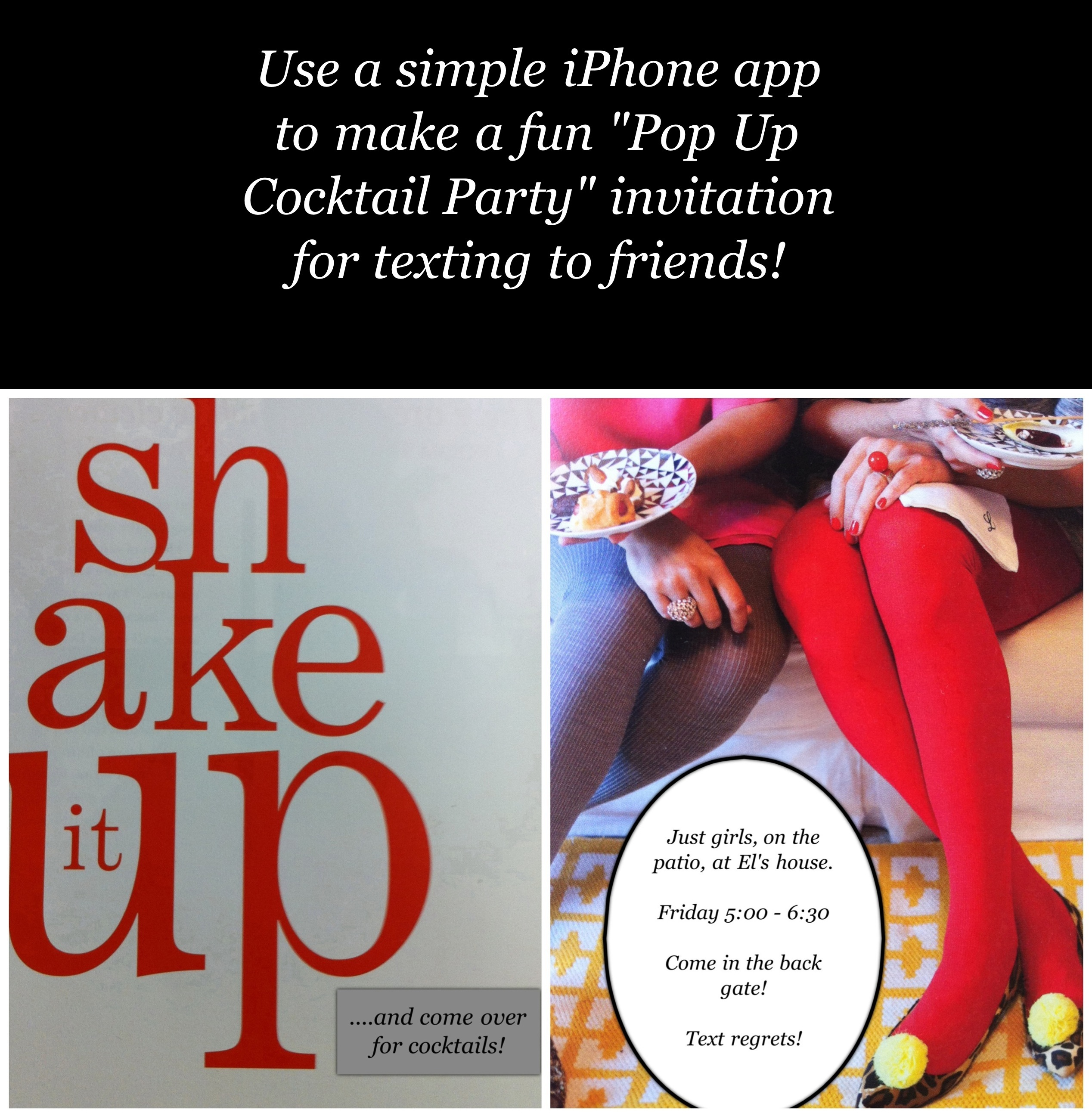 Design a Cocktail Party Invitation to text to your friends – Party Invitation App